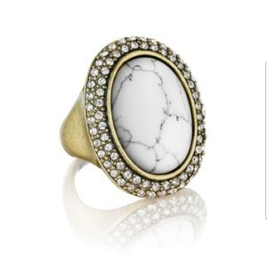 Howlite Pavé Oval Ring